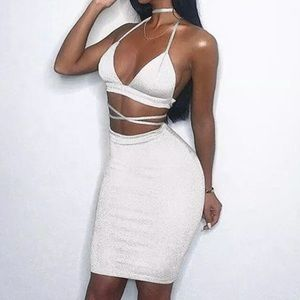 White crop Top strappy skirt set outfit glam sexy